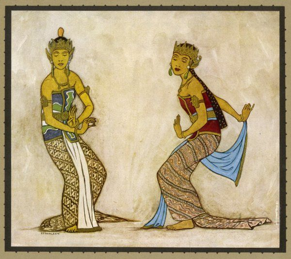 Two royal court dancers performing the female style of Javanese dance. The bent knees, flexed wrists and refined movements are characteristic of this style