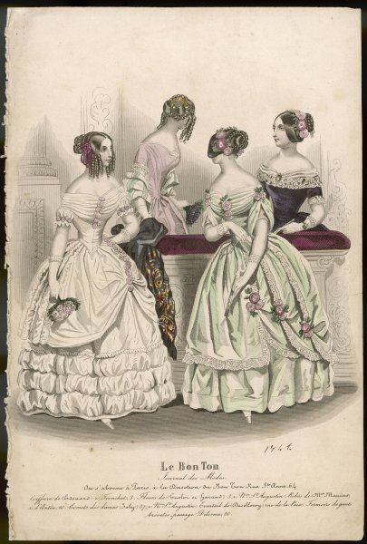 Six ladies in indoor dresses and a diversity of coiffures