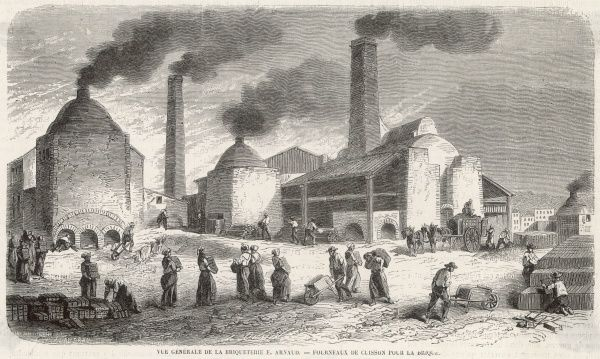 A scene from the yard of a large brick manufacturer