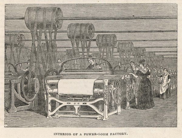 Women at work in a power-loom factory, Lancashire