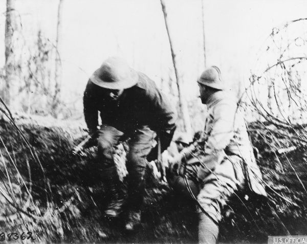 French and American daylight patrol in Badonviller during World War I