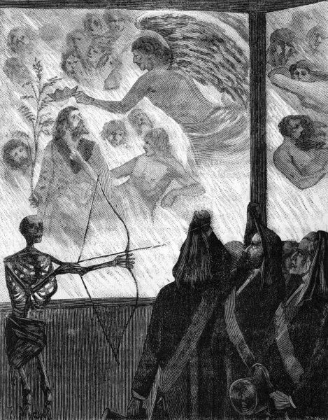 Brother gaze upon paintings depicting demons and the damned in Hell, who do not seem to be suffering. In the centre, Hiram is being crowned by Eblis.  1890s