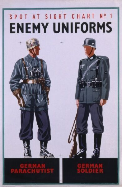 Information poster showing two enemy German uniforms: a parachutist and a soldier. Spot at Sight Chart No. 1