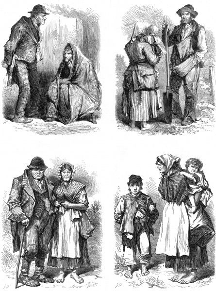 Sketches from Ireland showing inhabitants of a bog village near Castlereagh. They illustrate men, women, children and couples