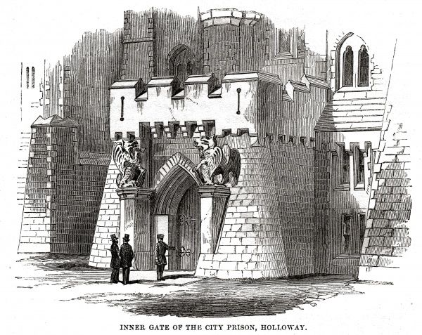 Inner gate of London City Prison and House of Correction, Holloway. Date: 1862