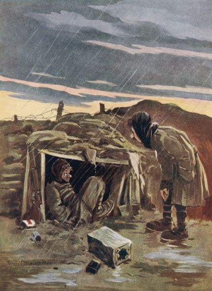"Humorous illustration by Bruce Bairnsfather showing a young soldier sheltering in his funk hole in a trench while an ""Ole Bill"" type character observes his misery"