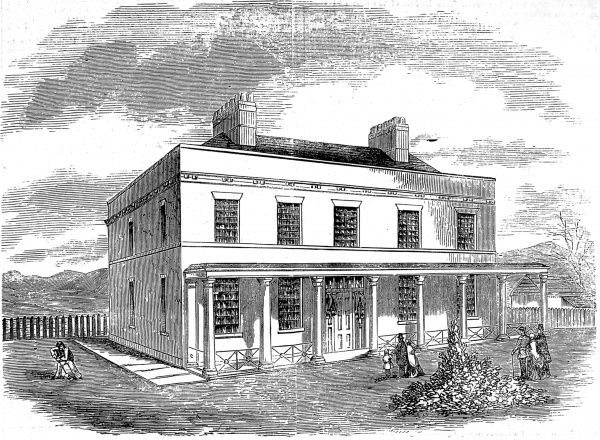 Engraving showing the exterior of the Asylum for the Temporary Reception of Insane Soldiers at Fort Pitt, Chatham, 1857