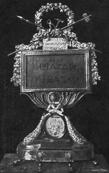 Reliquary containing part of the Inscription from the True Cross - from Santa Croce (Church of the Holy Cross of Jerusalem) in Rome, Italy. Date: circa 1910s