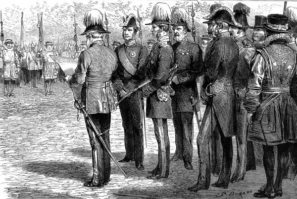 Engraving showing the official installation of Sir Richard Dacres, G.C.B. (centre), as Constable of the Tower of London, 1881