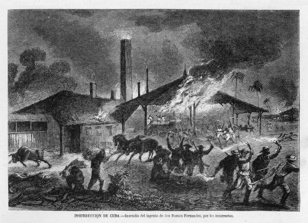 INSURRECTION against Spanish rule : the sugar mill of don Ramon Fernandez is set ablaze by the rebels