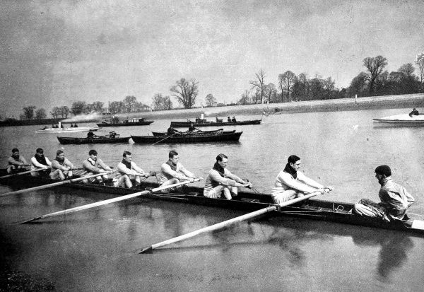 The Oxford rowing team practising for the 1897 Oxford versus Cambridge Boat Race