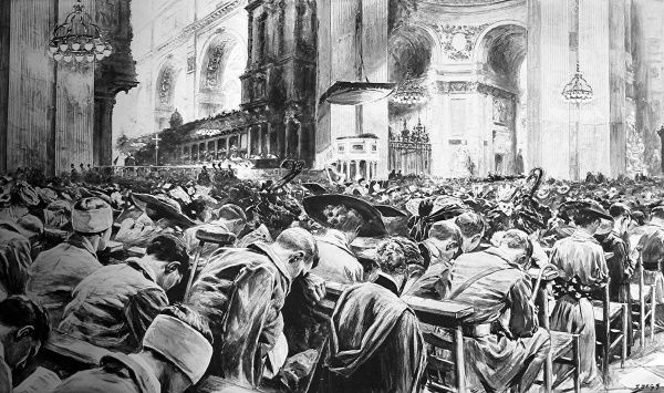 Illustration by S. Begg (who was present) of a service at St. Pauls Cathedral, on the first anniversary of the declaration of World War I, August 4th, 1915, showing both soldiers and civilians among the congregation