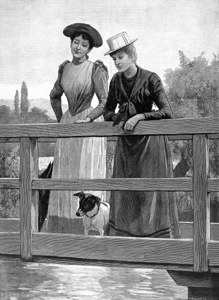 Engraving showing two Victorian women and a dog, standing on a small bridge, admiring the river scene below during the summer of 1892