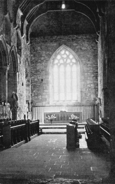 The interior of the Abbey Church of St Mary, Iona, Scotland