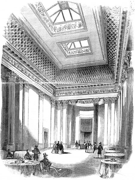 Engraving showing the interior of the Hall of Commerce, Threadneedle Street, City of London, 1842