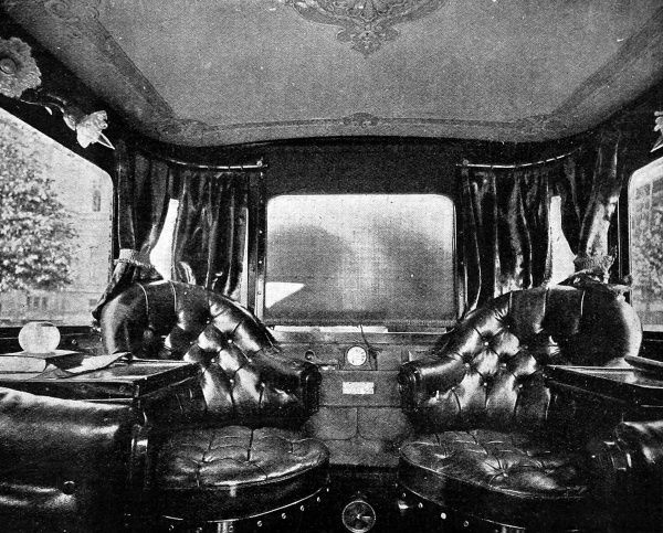 Photograph showing the plush interior of the Marquis of Anglesey's new Pullman Mors car, which included polished mohogany, revolving leather arm chairs and heating