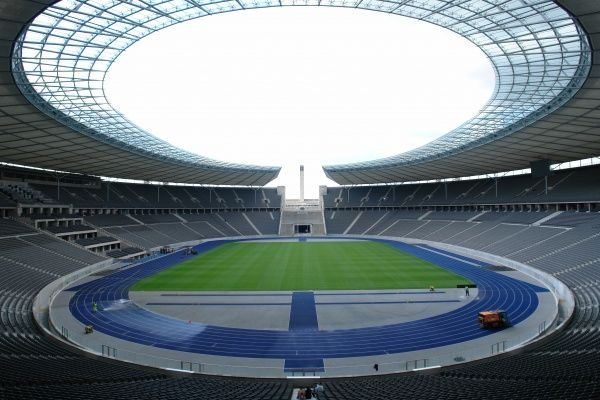 Interior view of the Olympic Stadium in Berlin, Germany. Built for the 1936 Olympic Games, it has been a popular football venue for many years, and has undergone some renovation