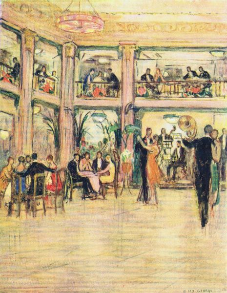 Interior sketch of Kit-Cat Club, London, 1926 - world famous cabaret venue Date: 1926