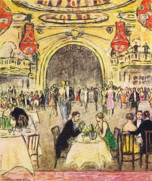 Interior sketch of New Princes Restaurant, London, 1926 - a famous cabaret venue staging The New Princes Frivolities Date: 1926