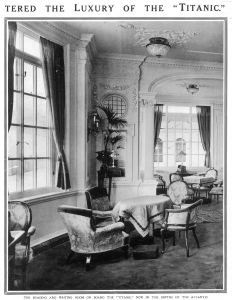 Photograph of one of the interior tea rooms onboard the Titanic. Built by the shipyard Harland and Wolff for White Star Lines, the liner was almost identical to her sister ship, 'Olympic' and was a rival to Cunard's 'Lusitania&#39