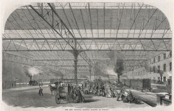 'The new Victoria Station at Pimlico' - an interior view of the terminus when it had just opened in Central London