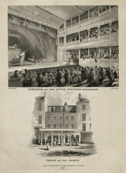 Etching showing the interior of the Little Theatre, Haymarket and of the front view of the above, published by Robert Wilkinson, 1 December 1815. HPG/8/2/1 (xxv)
