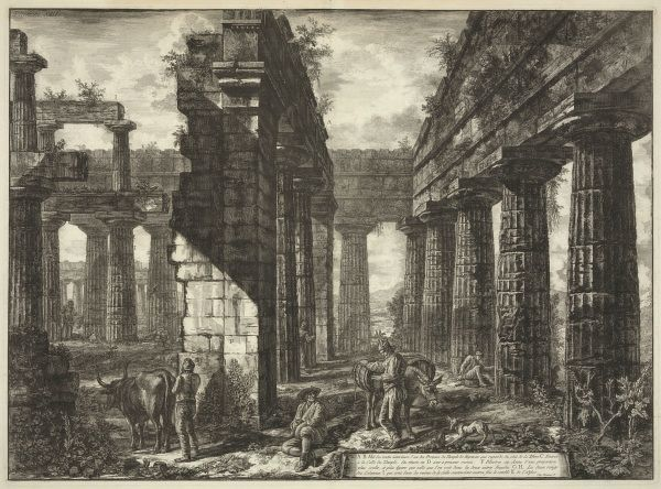 Interior view of the Temple of Neptune, Paestum, plate 13