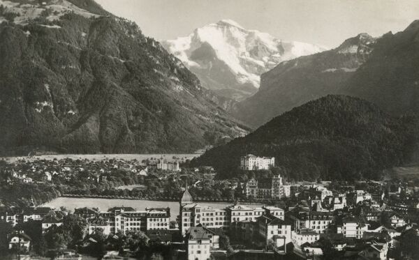 Interlaken and the Jungfrau Mountain. Picture from a postcard set of views of Interlaken in the Canton of Bern, Switzerland and local countryside scenes