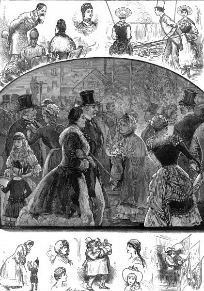 Engraving showing a series of scenes from the International Peasant Festival, held at the Royal Albert Hall, London, in February 1884. The central image shows a flower seller offering her wares to a Victorian couple