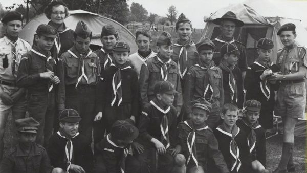 International Scout Troop in Warsaw, all members are sons of foreign Embassies' staff.  circa 1960s