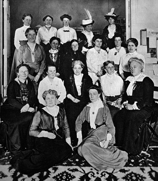 Suffragettes. An international gathering of well-known workers for womens franchise at the Congress of the International Suffrage Alliance. Britain is represented by Miss Crystal Macmillan (2nd row from back, far left), Mrs. Fawcett (3rd row from back