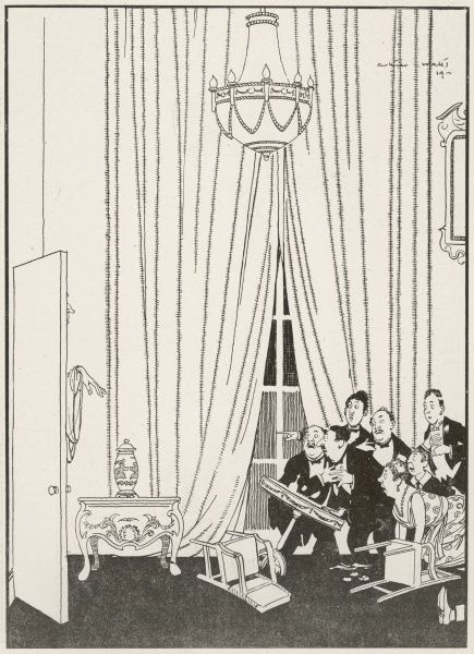 Complete demoralisation of psychical research party on arrival of a real ghost. Humorous illustration by Arthur Watts poking fun at the growth of interest in the existence (or not) of paranormal activity during the 1920s