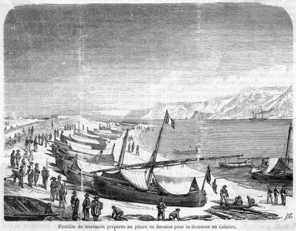 Garibaldi's invasion fleet on the beach at Messina, Sicily, ready to invade the Italian mainland at Calabria