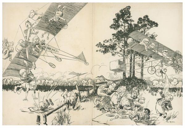 Illustration 2/2 A comical cartoon showing what look like elves or pixies getting into mischief with various inventions