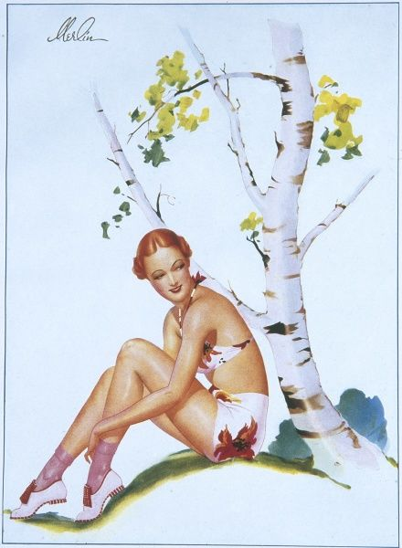 Pin up girl by Merlin Enabnit (1903-1979) dressed in a floral print bikini and sitting by a birch tree. Enabnit was born in Des Moines, Iowa and was a successful commercial artist. He produced 24 pin up illustrations for The Sketch during the 1940s