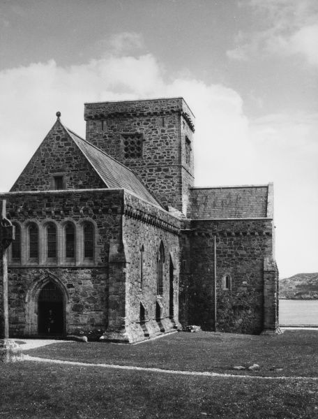 Iona Cathedral, off the south west coast of Mull, Scotland. In 563, St. Columba landed here from Ireland and established a monastery and a base for his evangelism