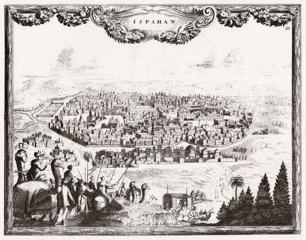 Esfahan: general view, with travellers in the foreground