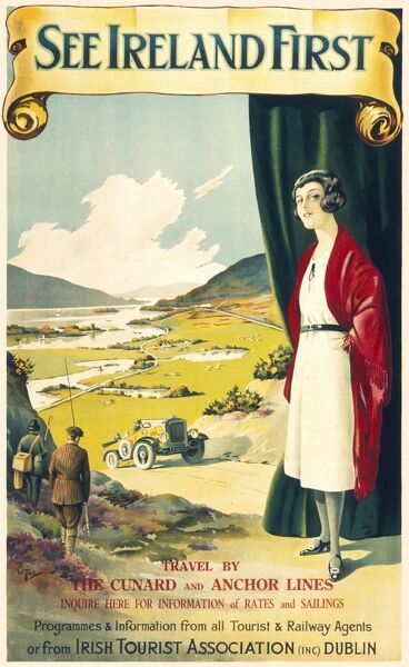 See Ireland First travel poster, travel by Cunard and Anchor Lines by the Irish Tourist Board