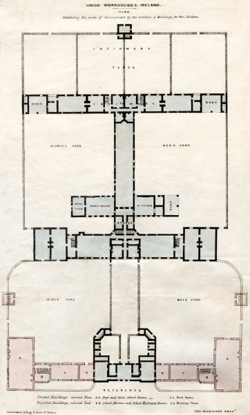 Plan view by architect George Wilkinson of proposed extensions to increase the capacity of Irish workhouse buildings. The sections in blue are the original buildings, with the new sections in red. Date: 1847