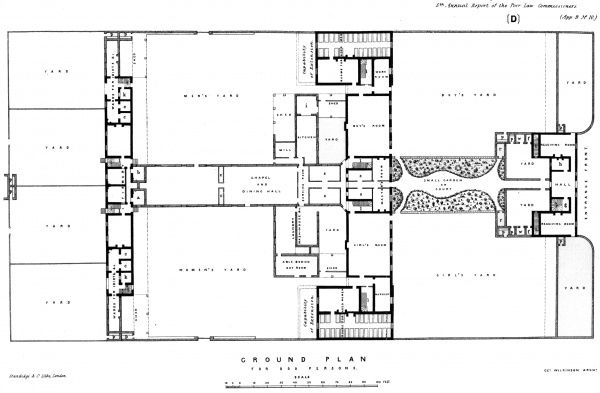 Ground plan of the model plan for Irish union workhouses housing up to 800 inmates. The plan was devised by George Wilkinson, the Poor Law Commissioners' architect in Ireland. It comprised an entrance block (right), main block (centre), and infirmary