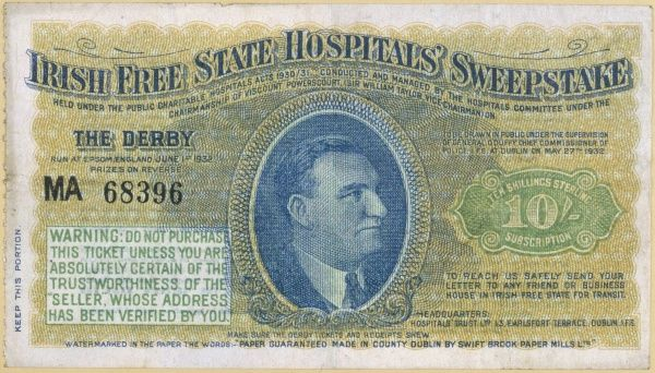 A ticket for the Irish Free State Hospitals' Sweepstake, based on the Derby at Epsom, England