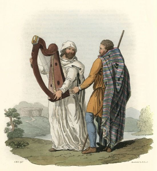An Irish Ollamh, a high- ranking bard, talks with a Filidhe, or herald bard, who holds a traditional Irish harp. Both had functions within the Druidic order. Date: BCE