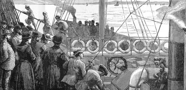 Engraving showing a small steam tender coming alongside a trans-Atlantic steamer with Irish emigrants, 1884. These emigrants were bound for Canada