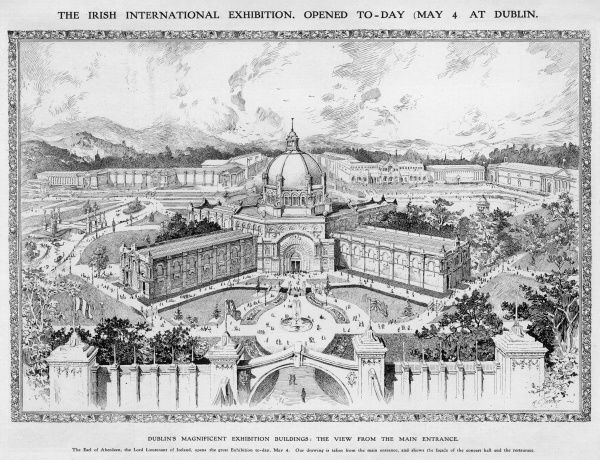The Irish International Exhibition at Dublin, on the day it was opened by the Earl of Aberdeen on 4th May 1907. The view of the buildings from the main entrance, showing the facade of the concert hall and the restaurant