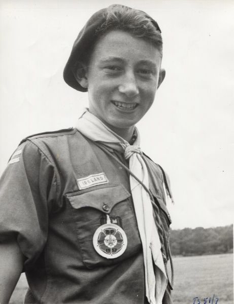 An Irish Scout at the 1957 6th World Scout Jamboree held in Moisson, France. circa 1957