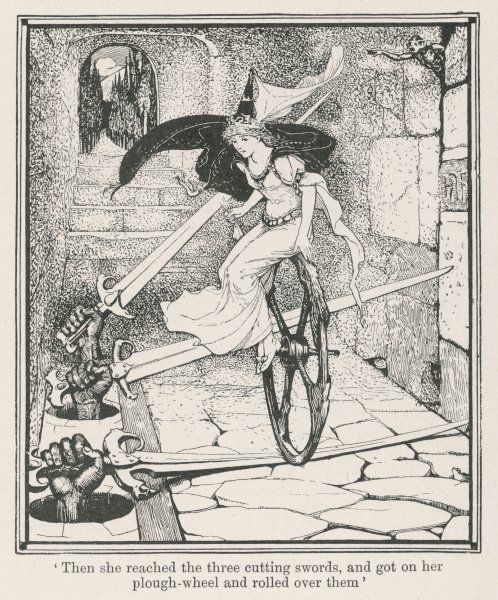 The princess rides on a plough wheel over the three swords which are being wielded through holes in the ground. (Grimm story)