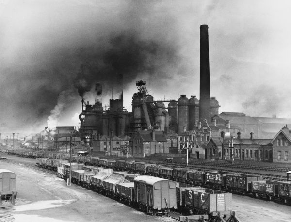 Smoke billowing out of the Iron Works, Corby, Northamptonshire