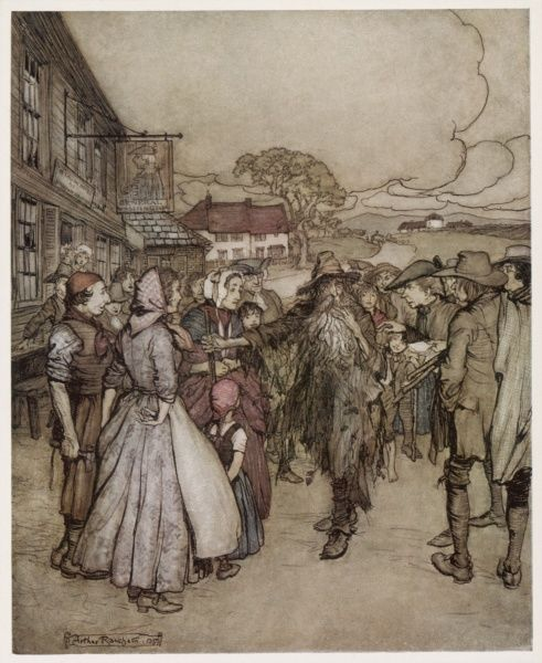 Rip's return to the village. Date: First published: 1819
