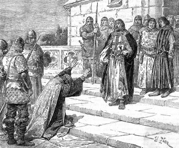Isaac Kommenos of Cyprus begs Richard I for the release of his daughter. In retaliation for the imprisonment of his fiancee and sister when they were shipwrecked, Richard conquered Cyprus on his way to Tyre on the Third Crusade. Date: 1191