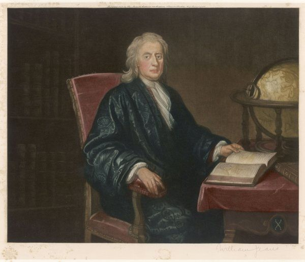 SIR ISAAC NEWTON - Mathematician and physicist, seated at his work-table, circa 1726